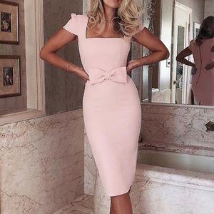 Pink Bow Cap Sleeve Dress